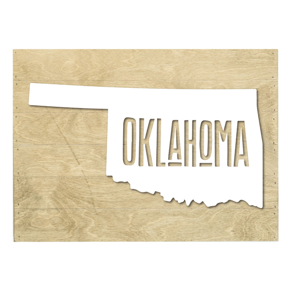 Real Wood Oklahoma State Slat Board with Raised Silhouette and Lettering