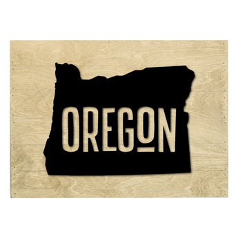 Petal Lane Home Real Wood Oregon State Slat Board with White Raised Silhouette on Driftwood