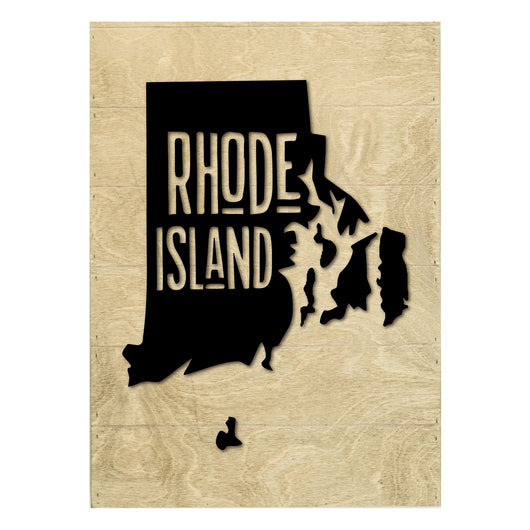Petal Lane Home Real Wood Rhode Island State Slat Board with White Raised Silhouette on Driftwood