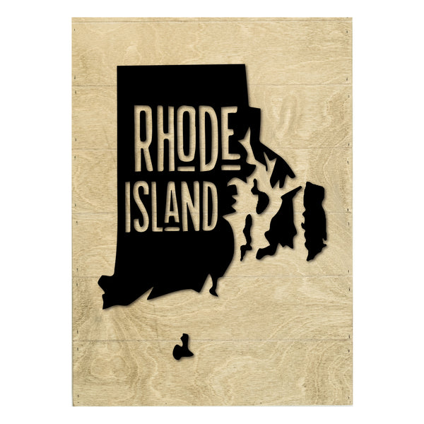 Real Wood Rhode Island State Slat Board with Raised Silhouette and Lettering