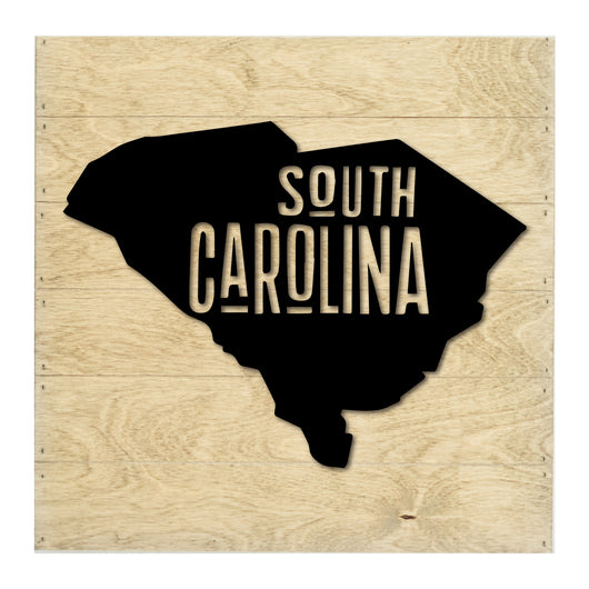 Petal Lane Home Real Wood South Carolina State Slat Board with White Raised Silhouette on Driftwood
