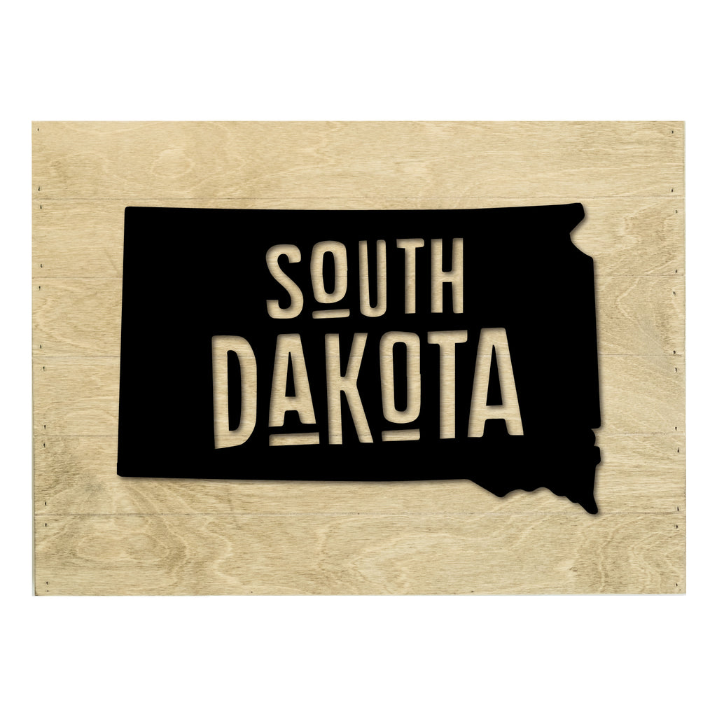 Real Wood South Dakota State Slat Board with Raised Silhouette and Lettering