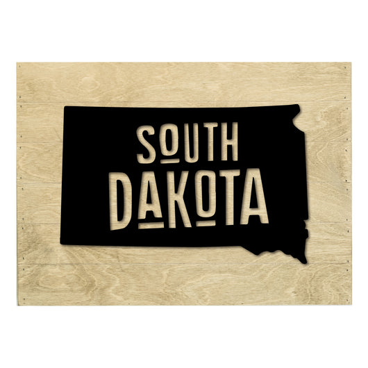 Petal Lane Home Real Wood South Dakota State Slat Board with Black Raised Silhouette on Driftwood