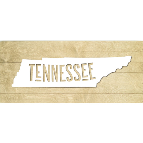 Real Wood Tennessee State Slat Board with Raised Silhouette and Lettering