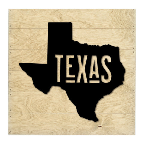 Real Wood Texas State Slat Board with Raised Silhouette and Lettering