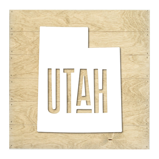 Petal Lane Home Real Wood Utah State Slat Board with Raised Black Lettering on Driftwood