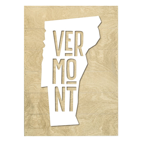 Real Wood Vermont State Slat Board with Raised Silhouette and Lettering