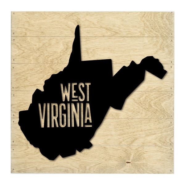 Real Wood West Virginia State Slat Board with Raised Silhouette and Lettering