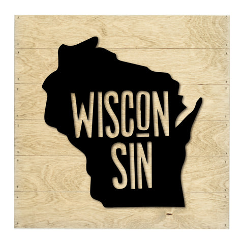 Real Wood Wisconsin State Slat Board with Raised Silhouette and Lettering