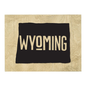 Petal Lane Home Real Wood Wyoming State Slat Board with Black Raised Lettering on Driftwood