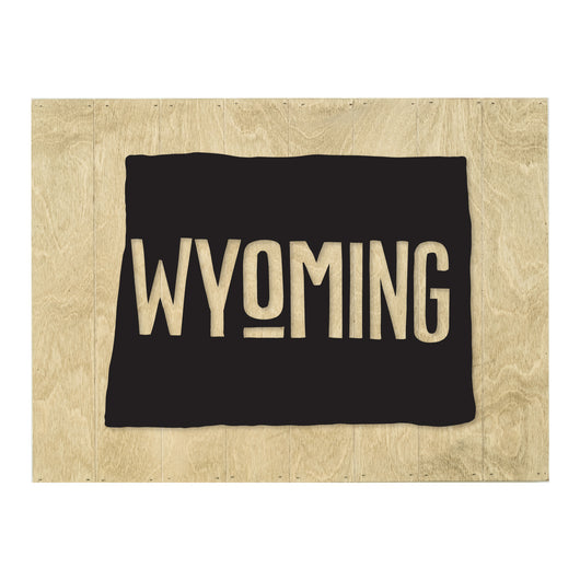 Petal Lane Home Real Wood Wyoming State Slat board with Raised Silhouette and Lettering Black on Driftwood