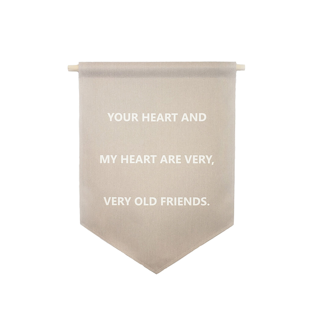 Petal Lane Home bannerlove Your Heart and My Heart Hanging Canvas Banner with Wooden Dowel and String