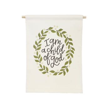 Petal Lane Home bannerlove Alexa I am a Child of God Hanging Canvas Banner with Wooden Dowel and String
