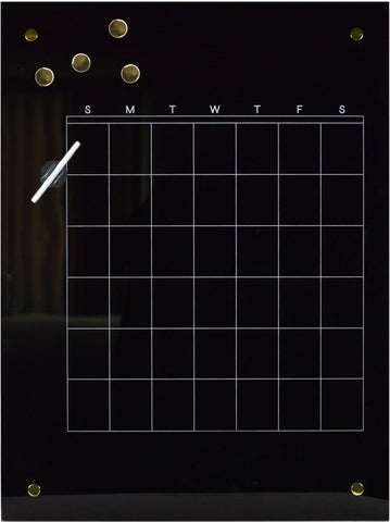 Glass Magnetic This Month Black Dry Erase Board