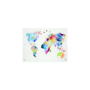 Petal Lane Home Magnetic Dry Erase Board with Gold Knobs Watercolor World Map