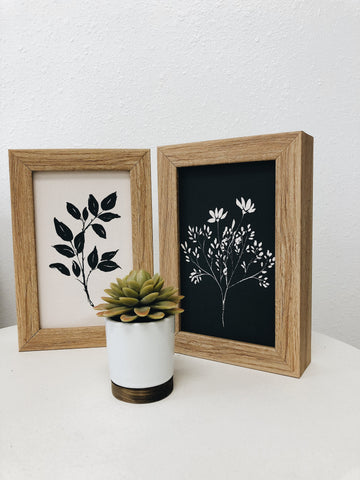 Rustic Brown Black Ink Flower Bush