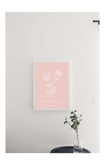 Valentines Pink Flowers Magnetic Board