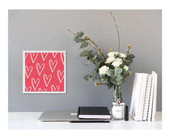 Valentine's Red Heart Patter Magnetic Board