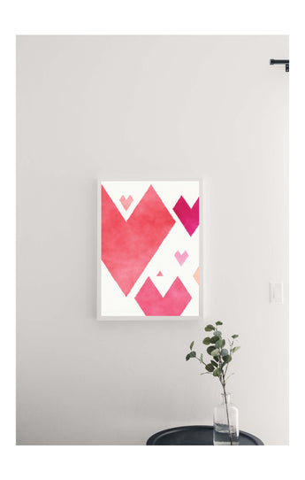 Valentine's Watercolor Hearts Magnetic Board