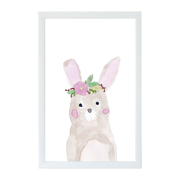 Spring Watercolor Flower Bunny Magnet Board