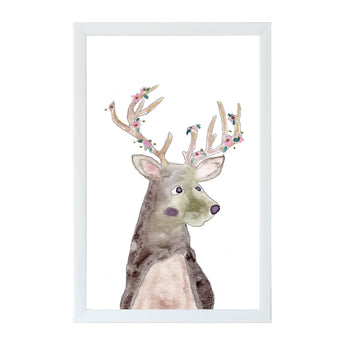 Watercolor Flower Deer Magnet Board