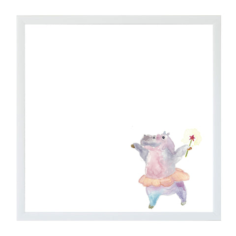Watercolor Dancing Hippo Magnet Board