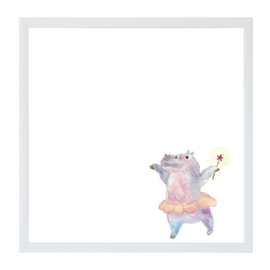 Petal Lane Home Watercolor Dancing Hippo Magnet Board for Kids