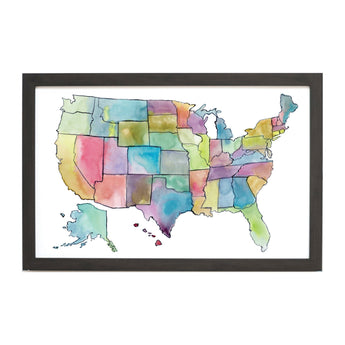 Petal Lane Home Watercolor Magnet Board U.S.A Map