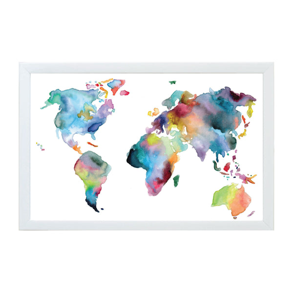Watercolor World Map Magnet Board