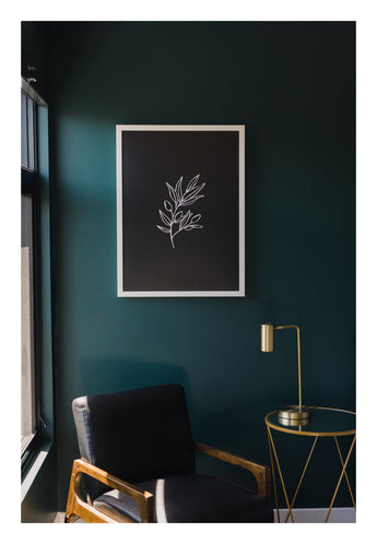 Petal Lane Home Neutral Black Leaves Line Drawn Flower Artwork on Magnetic Board