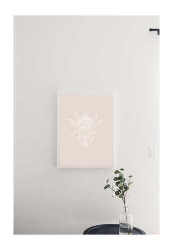 Petal Lane Home Neutral Botanical Line Drawn Flower Modern and Chic Magnetic Board