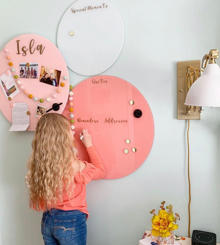 Glass Magnetic Sunny Coral Circle Dry Erase Board