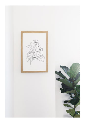 Petal Lane Home Rustic Brown Frame Flower Line Drawing Bouquet Magnetic Board