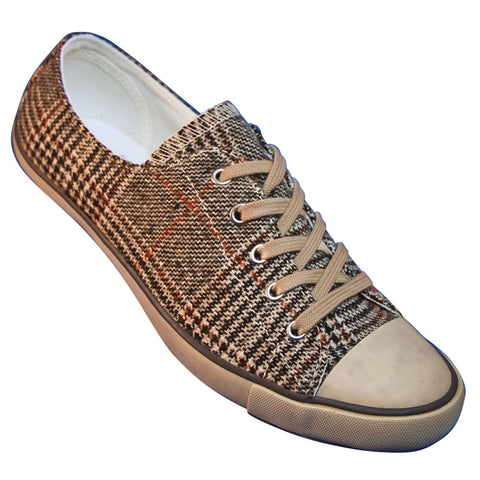 Aris Allen Women's Brown Plaid Classic Tomboy Dance Sneaker - CLEARANCE - *Only Size 10*