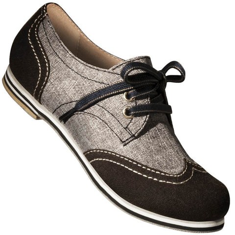 Aris Allen Women's Black & Grey Canvas Wingtip Dance Shoes