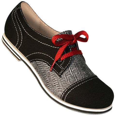 Aris Allen Women's Black Canvas & Herringbone Spectator Captoe Dance Shoes