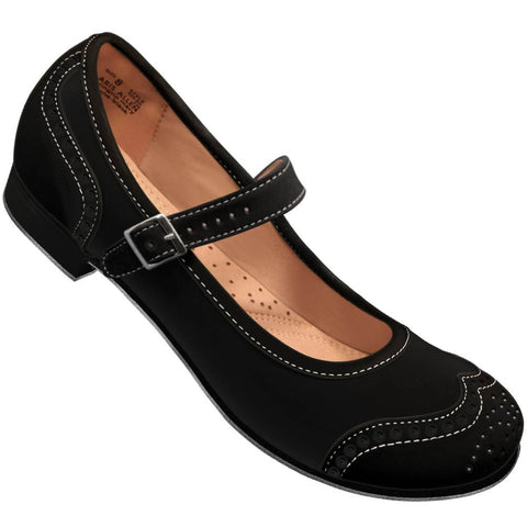 Aris Allen Black Snub Toe Mary Jane Wingtips *CLOSEOUT*