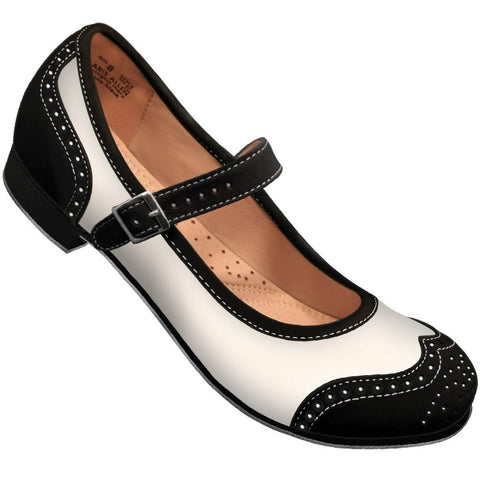 Aris Allen Black and Ivory Snub Toe Mary Jane Wingtips *CLOSEOUT*