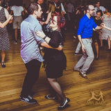 Aris Allen Black and Grey Snub Toe Mary Jane Wingtips at a Swing Dance