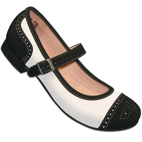 Aris Allen Black and Ivory Snub Toe Mary Jane Captoes *CLOSEOUT* *Limited Sizes*