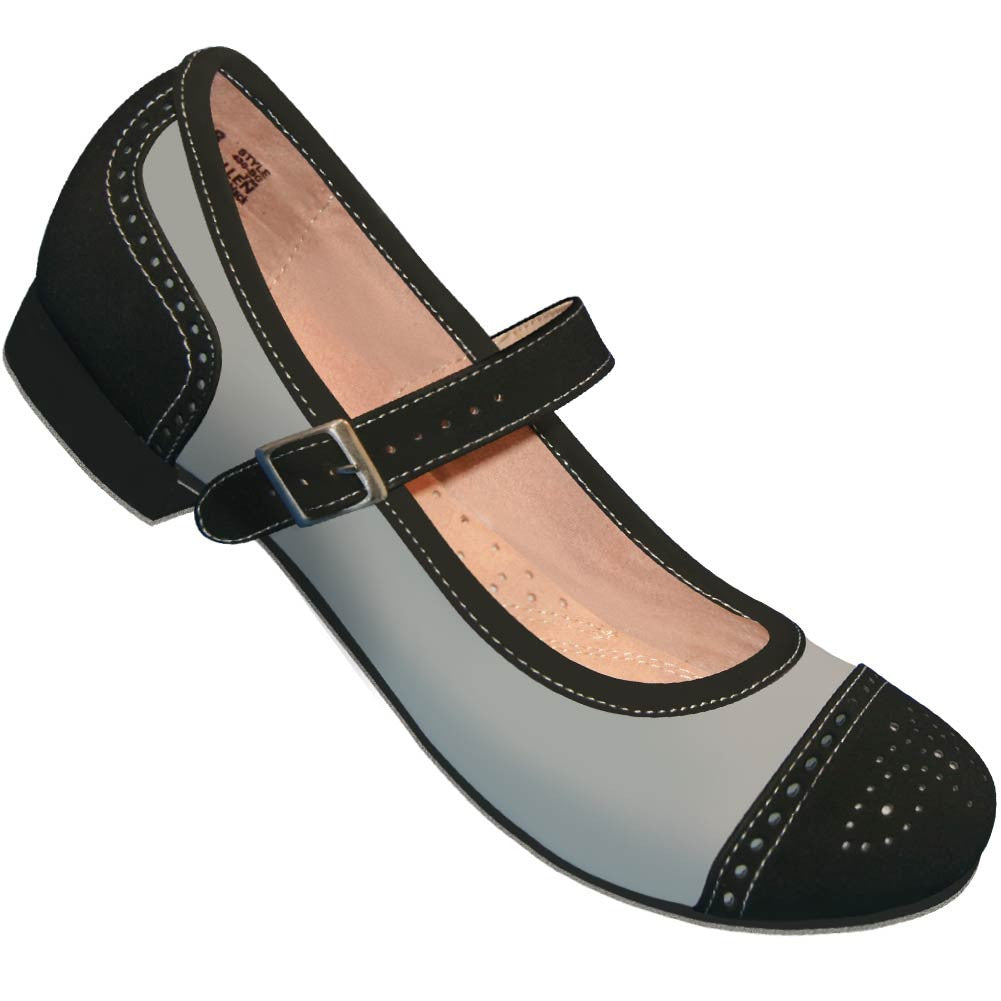Aris Allen Black and Grey Snub Toe Mary Jane Captoes *CLOSEOUT!* - *Limited Sizes*