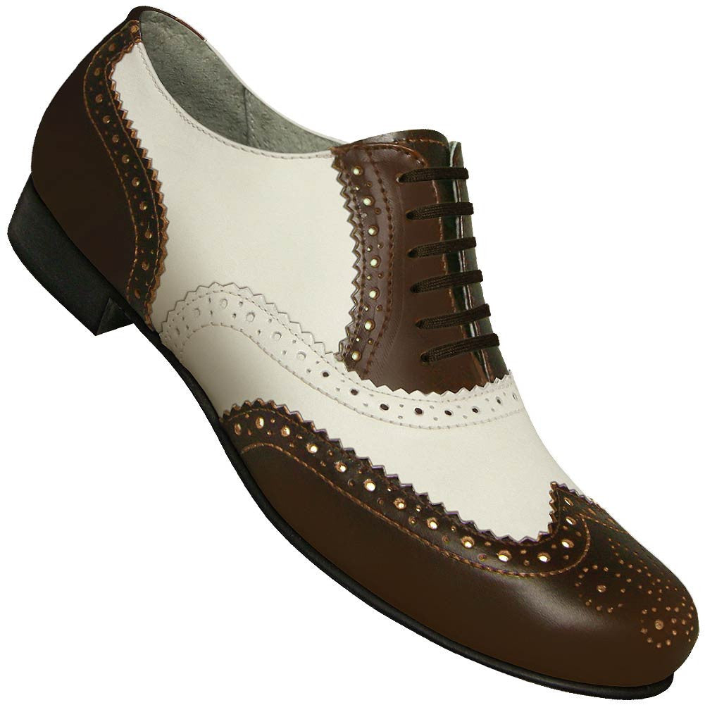 Aris Allen Men's 1930s Brown and Ivory Spectator Wingtip Dance Shoe