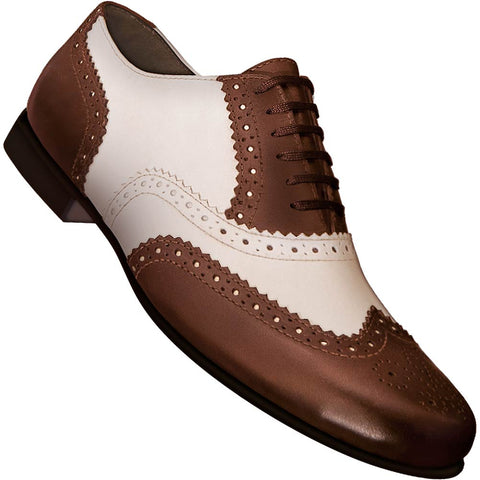 Aris Allen Men's 1930s Cognac and Ivory Spectator Wingtip Dance Shoe