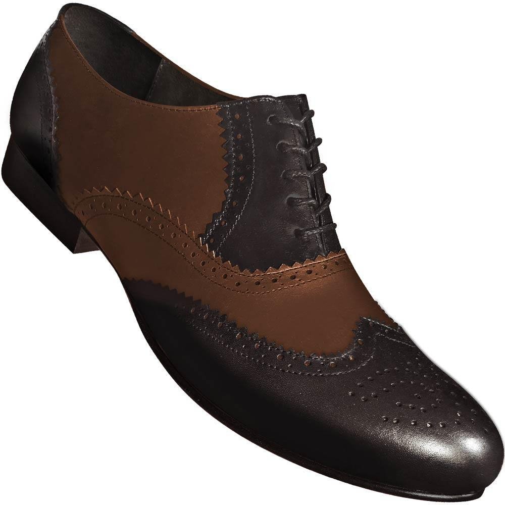 Aris Allen Black and Brown Wingtip Leather Swing Dance Shoes