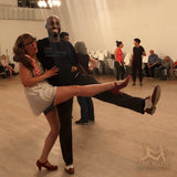 Cute couple Brooklyn Swings Aris Allen Brown White Wingtips Swing Dance Shoes
