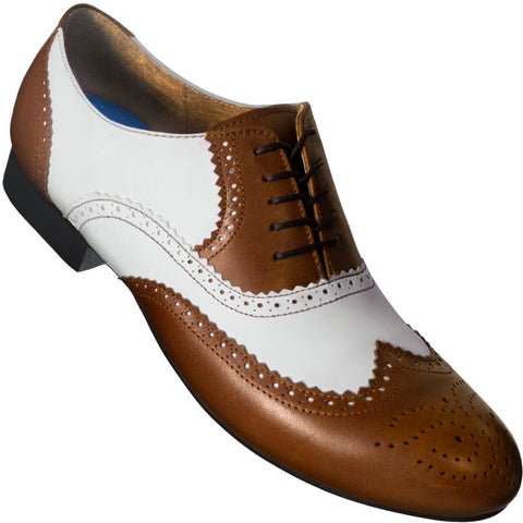 Aris Allen Men's 1946 Brown and White Spectator Wingtip Dance Shoes