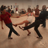 Jam at Brooklyn Swings Aris Allen Brown White Wingtips Swing Dance Shoes