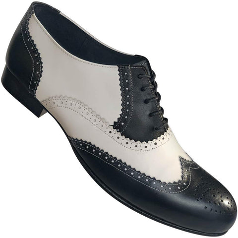 Aris Allen Men's 1946 Black and White Spectator Wingtip Dance Shoes