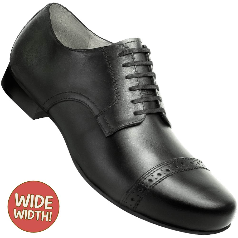 Aris Allen Men's Wide 1930s Black Captoe Dance Shoe - *Limited Sizes*