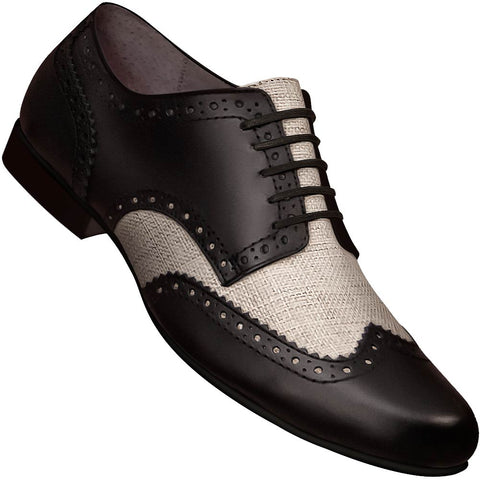 Aris Allen Men's Swing Era Black Leather & Ecru Linen Wingtip Dance Shoe